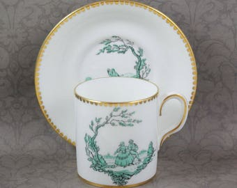 Vintage Royal Chelsea English Bone China Green and Gold Gilt Romantic Scene Demitasse Cup and Saucer