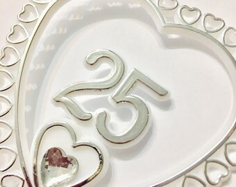 "25th Wedding Anniversay Silver Cake Topper 12"" inches Cake Topper"