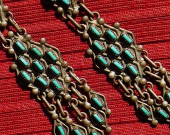 Long Zuni Sterling Silver Needlepoint Turquoise Dangle Earrings