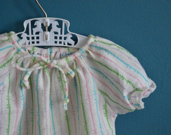 Vintage Baby Girl's Pastel Striped Knit Top - Size 12 Months