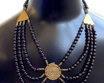 Scorpio Birthday SALE Stunning Egyptian Revival Boho Brass Glass Bib Vintage Necklace