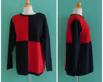 80's black color block sweater // black and red pullover ~ small medium