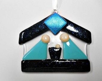 Nativity Blue and black Fused Glass  Suncatcher/ Ornament/ Keepsake