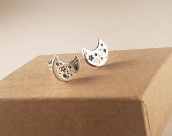 Sterling Silver Crescent Moon Stud Earrings