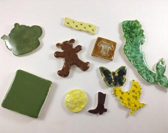 Ceramic Pieces for Crafting. Vintage- Handmade. Teddy Bear, Mermaid, Chicken, ButterflyTea Pot. Pottery Pieces. Vintage Mermaid. ,