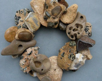 Earth Tone Rock Wreath or Candle Ring-RW349