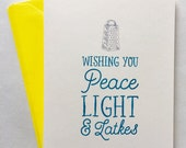 Peace, Light & Latkes Hannukah Card Set of Six