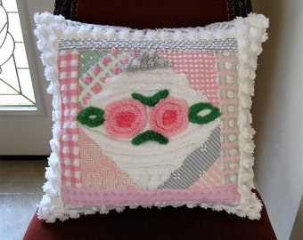 "Collage - Pink and Grey + Pink Lollipop Roses - Vintage Chenille Pillow - Feather Insert included 20"" x 20"""