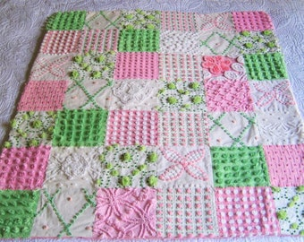 FREE Shipping Fluffy Bright PINK and GREEN Vintage Chenille Bedspread Baby or Lap Quilt - Ready to ship.