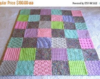 "ON SALE Kaffee Fassett ""Paperweight""  Cotton Print and Vintage Chenille Baby or Lap Quilt 39"" x 45"" Ready to ship"
