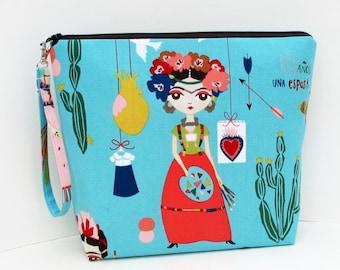 Tall Cosmetic Zipper Pouch, Frida Esperanza Dolls, Turquoise Knitting Project Bag,