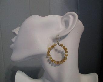 Citrine Hoop Earrings, Citrine Earrings, Semiprecious Stone Earrings, Handmade