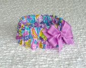 """Custom for Cheryl - Bright Easter Eggs Dog Scrunchie Collar with orchid bow - Size S: 12"""" to 14"""" neck"""