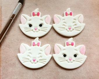12 Marie Cat fondant cupcake toppers