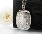 RESERVED FOR CS - Antique Locket | Sterling Silver Chatelaine Case | Forget-me-nots, 1920 English Hallmark, Adie & Lovekin - 22 Inch Chain