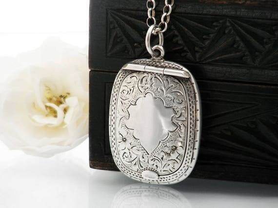 Antique Locket | Sterling Silver Chatelaine Case Compact | Forget-me-not Flowers, 1920 English Hallmark, Adie & Lovekin ALLD - 22 Inch Chain