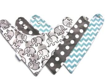 Bib, Baby Toddler Bib, Baby Bandana, Bib Set, Drool Bib, Dribble Bib, Reversible Bib, Minky Lined Bib, Elephants, Chevrons 248 abc
