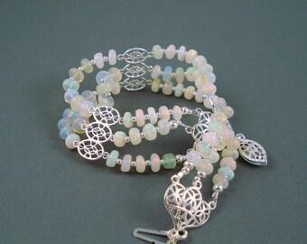 Opal Bracelet, Ethiopian Fire Opals, Opal Triple Strand Bracelet, Sterling Silver, OOAK Opal Jewelry Bracelet