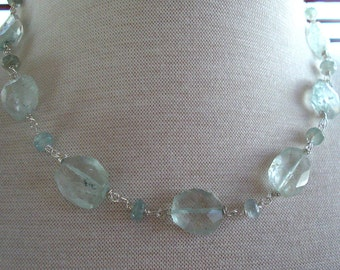 Aquamarine Necklace with Large Light Blue Green  Aquamarine, Aquamarine Nuggets and Sterling Silver