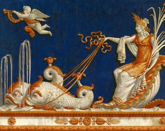 antique french wallpaper frieze angels and dolphins illustration digital download