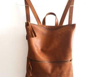 Backpack ,brown leather, Laptop bag
