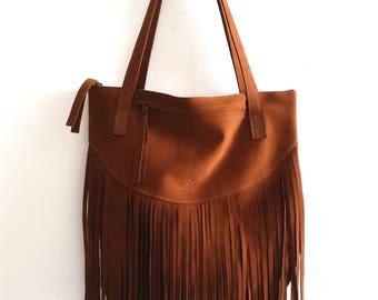Fringes  Leather tote bag - Shoulder Bag -Every day leather bag - Women bag- brown