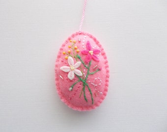 Felt Ornament Pink Easter Egg Hanging with Embroidered Felt Flowers Swirls and Beads Handsewn