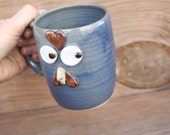 Pottery Chicken Mug in Blue. Funny Nervous Face Rooster Coffee Cup Comical Chicken Lover Farmhouse Kitchen Microwave Dishwasher Safe Pottery