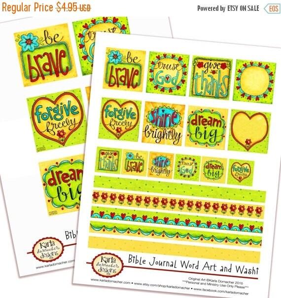 50% OFF SALE Word Art - Set 1 - Full-Color Bible Journaling Planner Banner Art INSTANT Download Scripture Digital Printable Christian