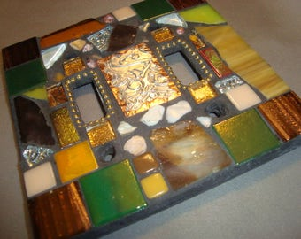 MOSAIC LIGHT SWITCH Plate Cover - Double, Wall Plate, Multicolored, Boho
