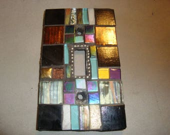 MOSAIC Light Switch Plate -  Single Switch, Wall Art, Wall Plate, Black, Silver, Bronze, Aqua, Iridescent Black, Gold