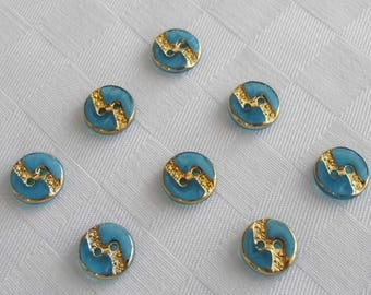 24 beautiful small  2-hole  glass buttons -  with nice golden trim  (11 mm - 7/16 in.) -