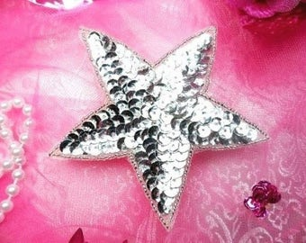 "Silver Star Applique 2""  Sequin Beaded Patch Two Inch (JB72-sl)"