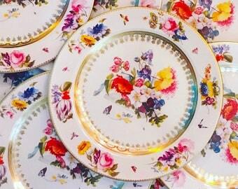 Set of 4 ENAMELED TIN china-like White Floral plates