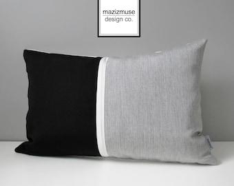 Modern Black & Grey Outdoor Pillow Cover, Decorative Color Block Pillow Cover Throw Pillow Cover Silver Gray Granite Sunbrella Cushion Cover