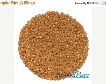 Beads On Sale - DB-0410 11/0 Miyuki Delica Seed Beads - bright gold seed beads - galvanized gold seed beads - round cylinder seed beads