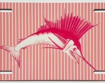 Pink and white mini Stripes Sailfish aluminum vanity front license Plate ladies sportfishing