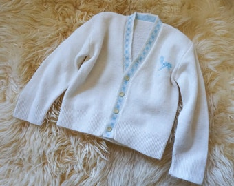 "Vintage 1960s Baby Size 9M Super Soft Cream Cardigan Sweater Embroidered Horse, chest 20"" length 11"", Retro Baby"