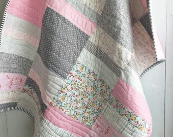 Sweet Lullaby Baby Patchwork Quilt; Modern Baby Quilt, Baby Quilt, Patchwork Quilt, Crib Quilt