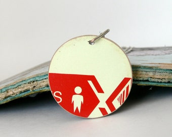Recycled Skateboard Jewelry Handmade Necklace Pendant-Black and Maple Red and Off White Wooden Reversible Pendant