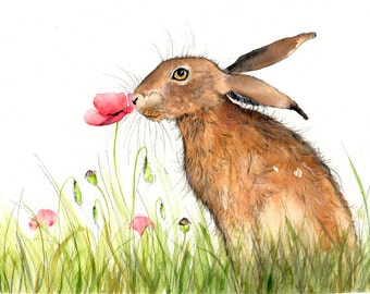 Hare Illustration Painting - Watercolor Art -6x4 Print- A4 print set in a mount- farm, animal,modern,art, painting, print, hare, poppy,