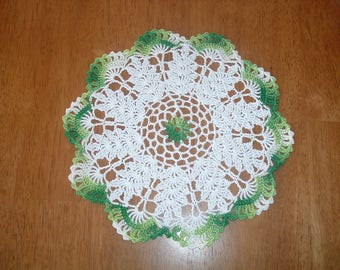 New Hand Crocheted Doily St. Patrick's Day Green and White