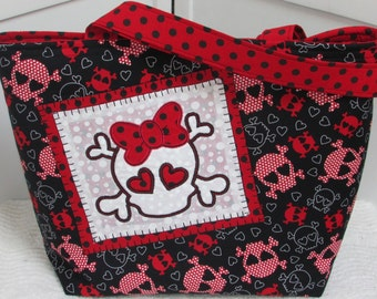 Red and Black Polka Dot Funky Girl Skull Large Tote Bag Hearts and Skulls Shoulder Bag Alternative Fashion Purse Ready to Ship