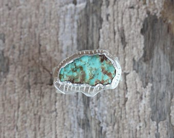 Primitive Fetish Bear Inspired Raw Cerrillos Turquoise Ring Large Tribal Mint Green Gemstone Wide Unisex Silver Band Southwest Boho - Sacred