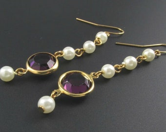 Purple Crystal Earrings, Crystal and Pearl Earrings, Long Earrings, Purple Earrings, Faux Pearl Earrings