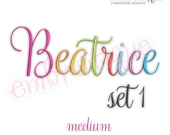 Beatrice 1 Monogram Font- Medium - BX files included- Instant Download Machine embroidery design