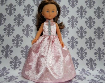 13 inch doll clothes made to fit dolls such as Corolle Les Cheries doll clothes, Pink Princess Fancy Gown Dress, 05-2065