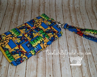 READY TO SHIP - Superman & Yellow Wallet Clutch with 8 Credit Card Slots, 1 Zipper pouch, and 2 Slots for Money