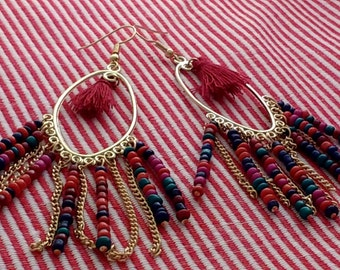 Vintage Boho Beaded and Tassled Dangle Earrings Gold with Red and Blue Beads