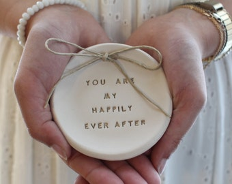 Ring bearer pillow alternative, Wedding ring dish You are my happily ever after Ring bearer Wedding Ring pillow Ceramics and pottery